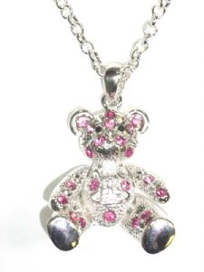 Silver and Pink Sitting Down Teddy With Moving Arms and Legs